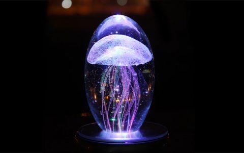 创意水母旋转水晶八音盒