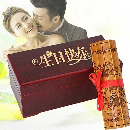 竹简情书定制创意竹筒书刻字仿古代竹卷七夕节礼物送女友男情人节