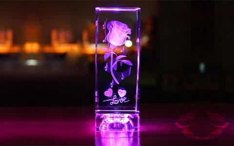 水晶玫瑰花3D内雕照片摆件