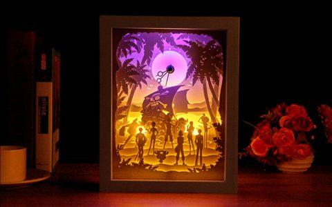 光影纸雕海贼王diy创意台灯