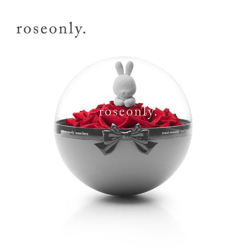 roseonly永生玫瑰礼盒 花球兔玫瑰公仔