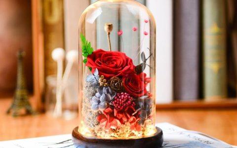 永生花玻璃罩玫瑰花礼盒