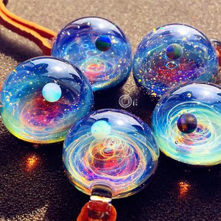 宇宙玻璃球手工吊坠高端星空球琉璃珠礼物