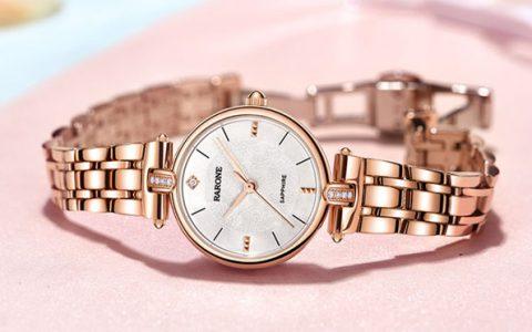 雷诺简约清新玫瑰金手表