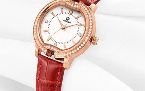 时尚真皮镶钻女士手表