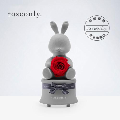 roseonly甜心兔音乐盒永生花公仔礼盒
