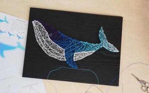 手工鲸鱼星空色海豚钉子画