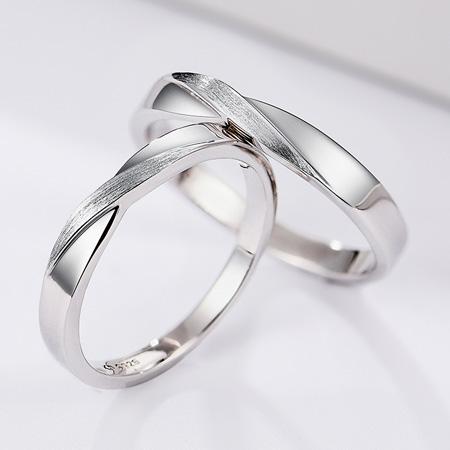 纯银情侣戒指男女一对莫比乌斯环形影不离日式轻奢异地恋网红对戒
