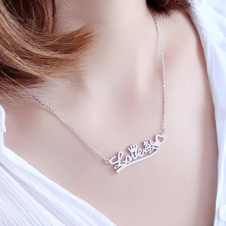 925纯银名字母锁骨项链