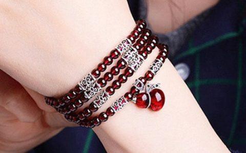 天然红石榴水晶手链