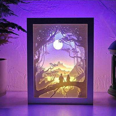 3D镂空光影纸雕灯