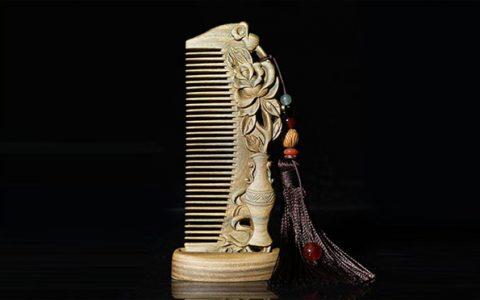 天然绿檀木雕花梳子礼盒