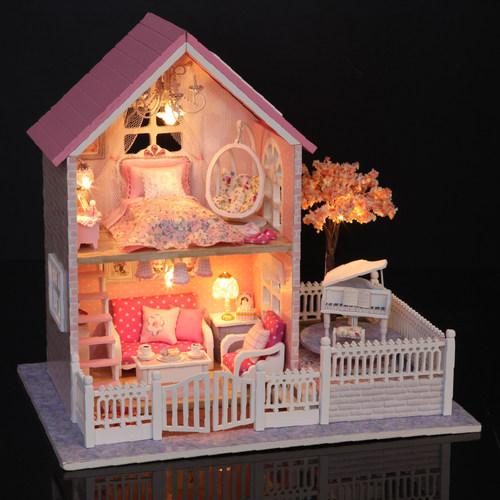 智趣屋diy小屋粉色樱花建筑模型