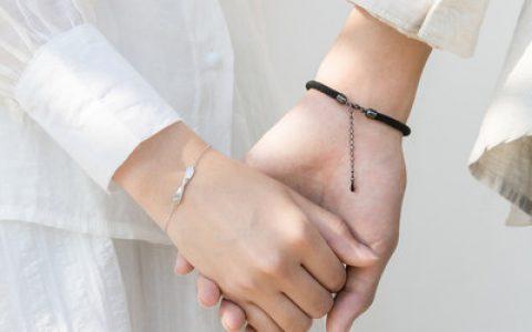 纯银编织手绳情侣手链一对