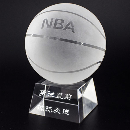 刻字水晶篮球摆件