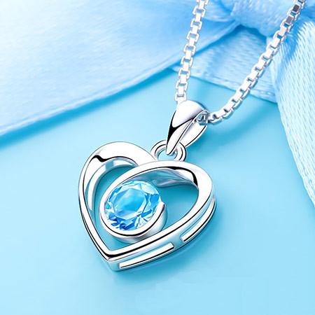 天然托帕石心形纯银锁骨项链