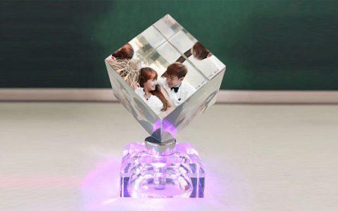 创意发光照片水晶魔方摆件